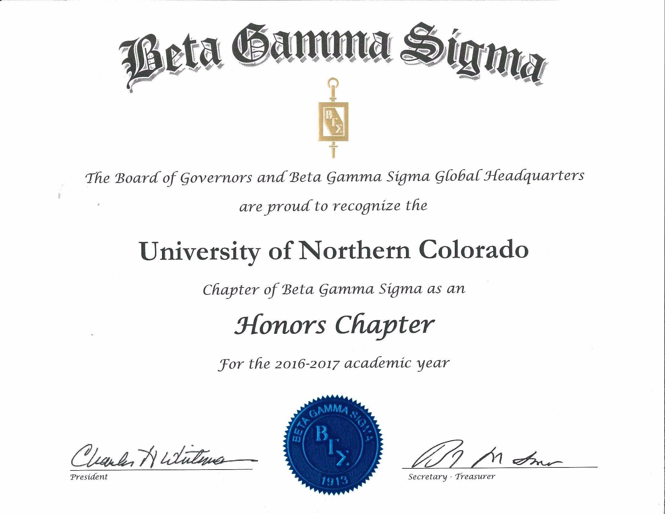 Beta Gamma Sigma Honors